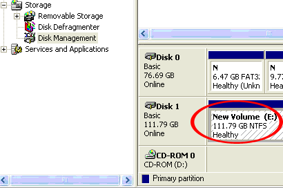 Locate the Disk that says it is Unallocated (check hard drive capacity to confirm it s the correct hard drive) and then right-click in the section that says Unallocated and select New Partition.
