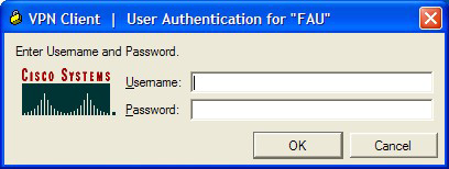 2. In the VPN Client, highlight the FAU Connection Entry and click on the Connect button as shown in the figure below. 3. The FAU VPN Client will create a connection to the FAU VPN concentrator.
