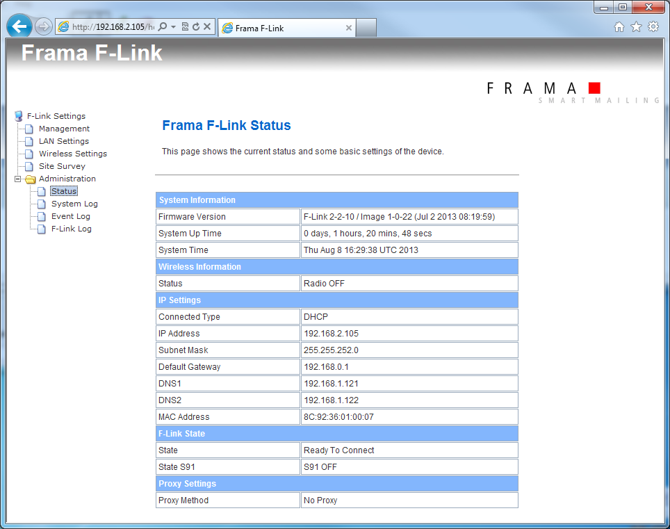 3.7 Configuration Page Administration Status The status of F-Link is showed on the configuration page Administration Status.