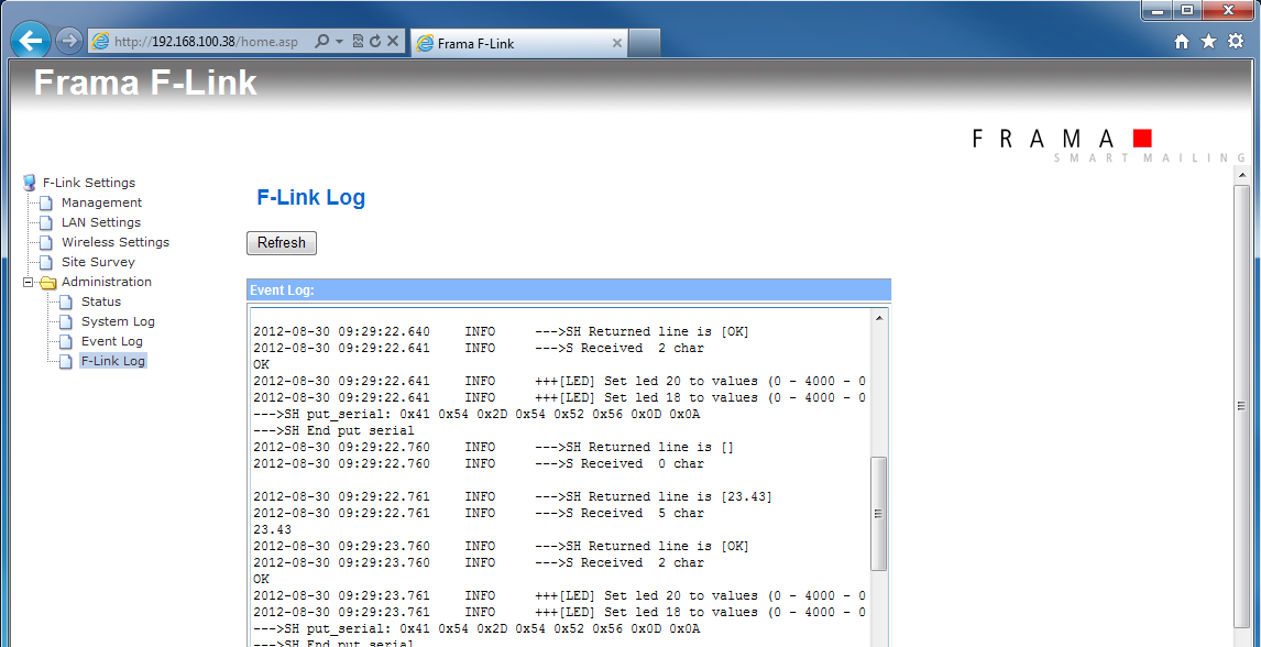 3.10 Configuration Page Administration F-Link Log The F-Link writes an operation log file.