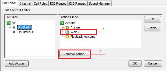 Remove Action In case you want to remove an action, 1. select it on the right panel and 2.