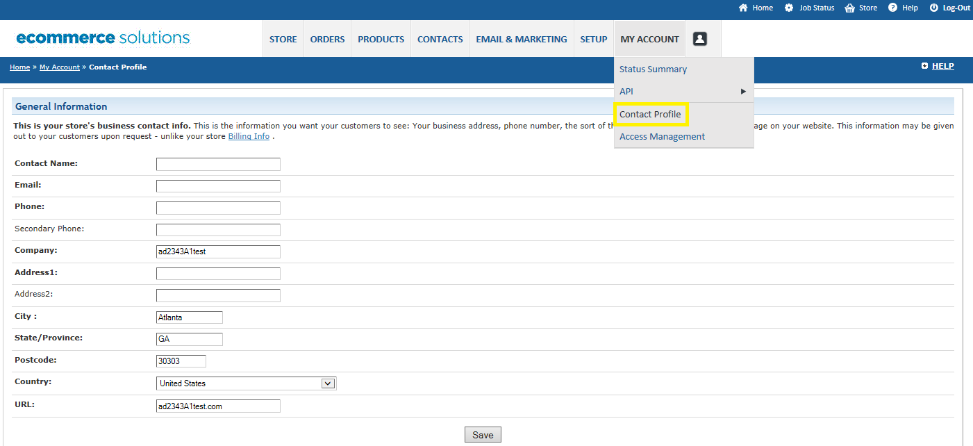 Set Up Your Account Profile The information entered in your Contact Profile is your public profile and the