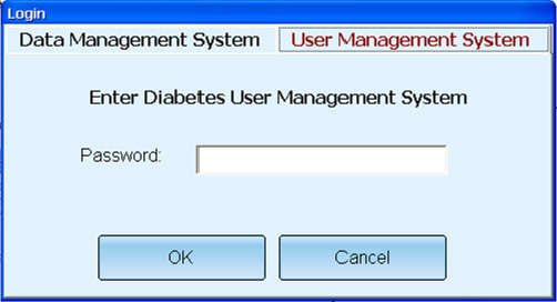 Click the User Management System tab, a dialog box asking for a password to Enter Diabetes User Management System will be displayed as below.