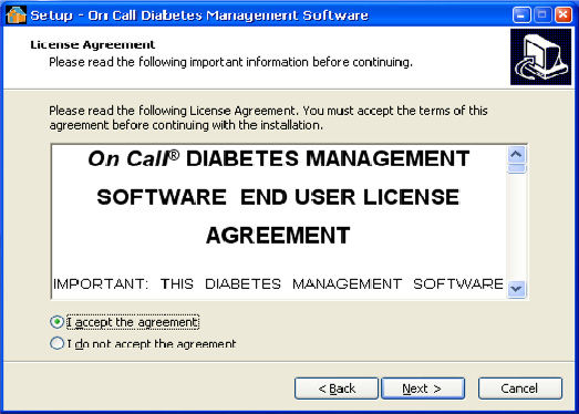 The License Agreement will be displayed as follows.