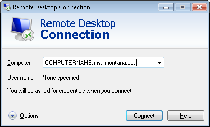 Connecting From A Remote Computer If you are using Remote Desktop off-campus you will likely need to setup and use a VPN connection.