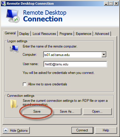 Check the box for Local Disk (C:). Click the OK button. TAMUS Remote Desktop Setup Click the Save button.