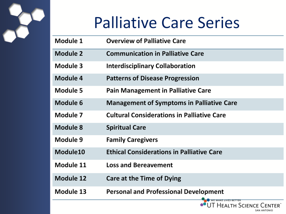 The palliative care series is organized into 13 modules that are listed on the slide.