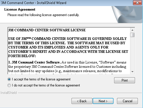 The license agreement appears.