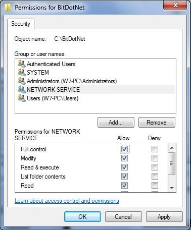 First, select the location. Then, click Advanced and choose the NETWORK SERVICE group. Click OK. Assign full access to the folder for the NETWORK SERVICE user group (fig. 2.