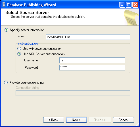 Fig. 6.2 Selecting the server Specify the server running your database (fig. 6.2). Select Use SQL Server authentication in the Authentication group. Type sa in the Username field.