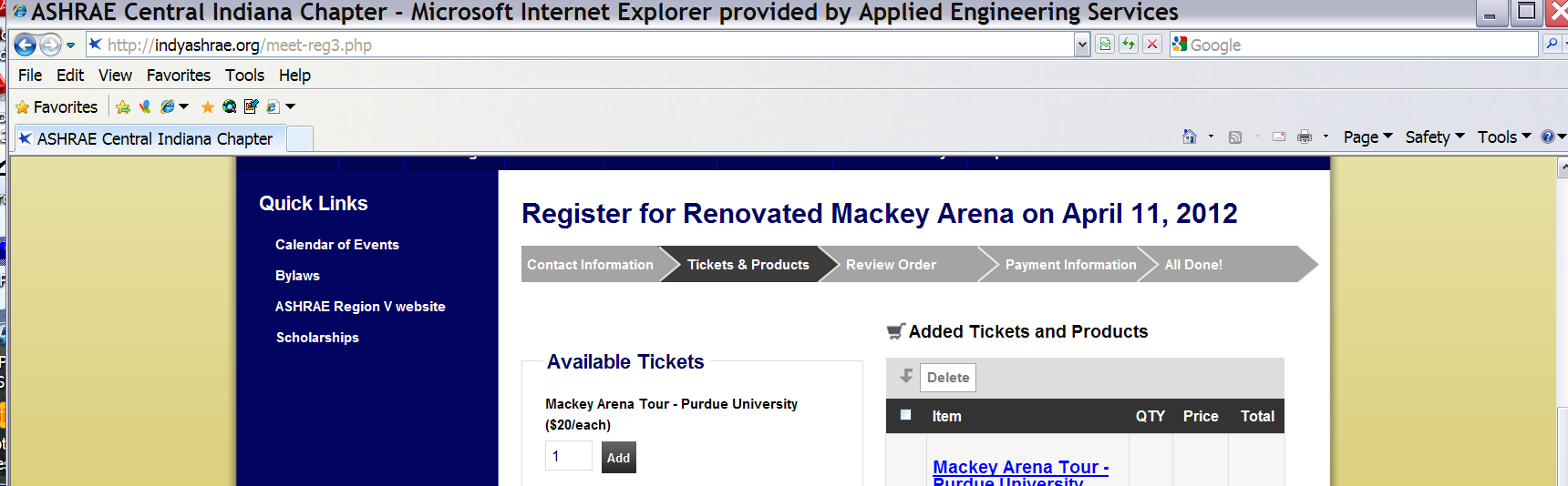 Click the Add button on the confirmation window to confirm the number of attendees.