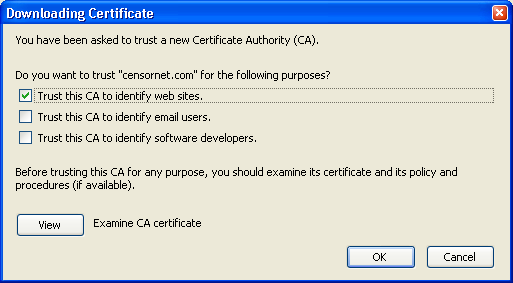 Firefox 2.0 and above manual installation To install the CensorNet Certificate Authority:- 1. Open Firefox. 2. Choose Tools menu followed by Options. 3.