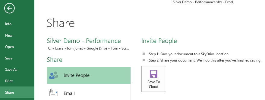Sharing (WebEx Style) Save to