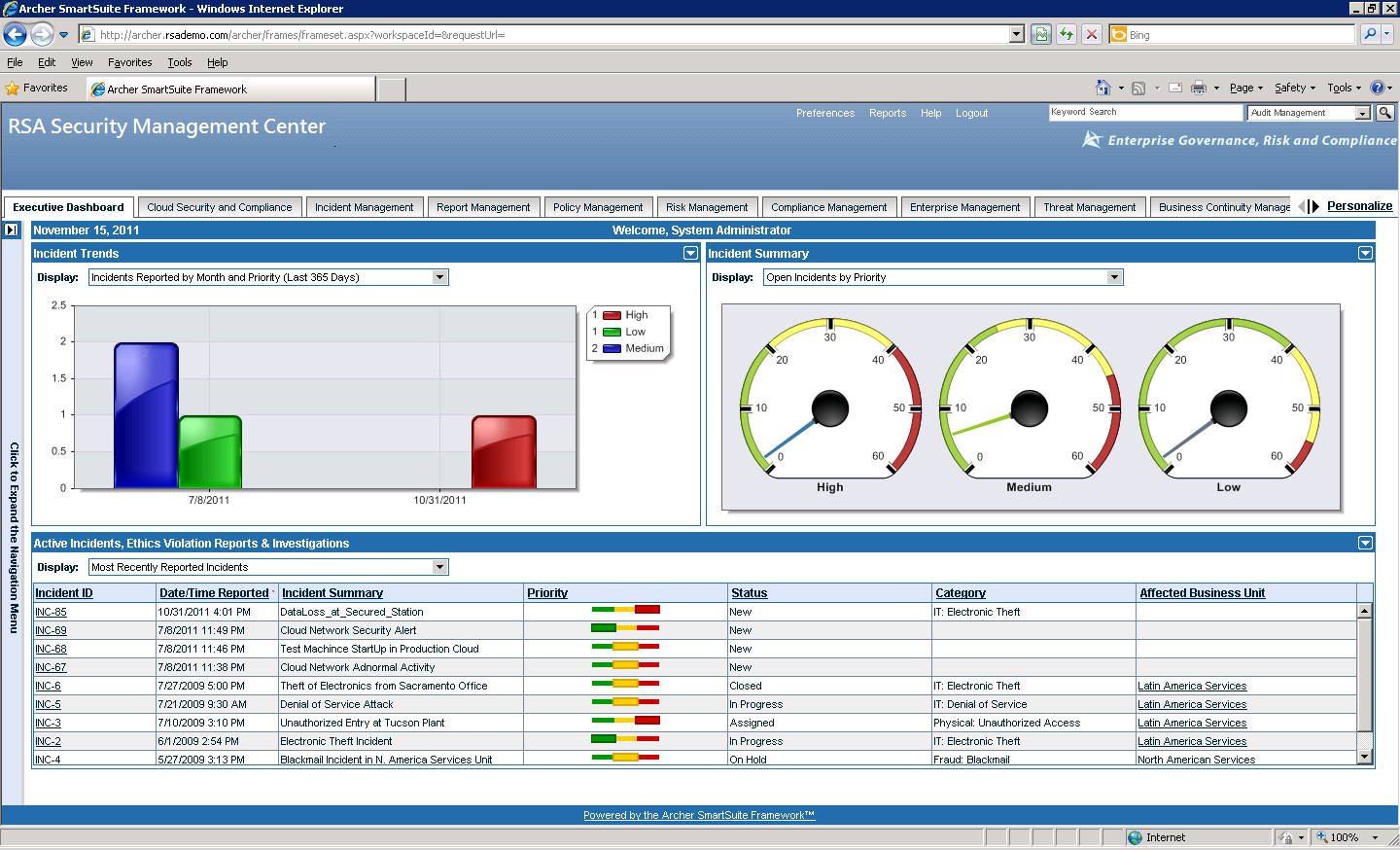 Incident escalation to Security Management Dashboard RSA SIEM alerts sent to RSA egrc