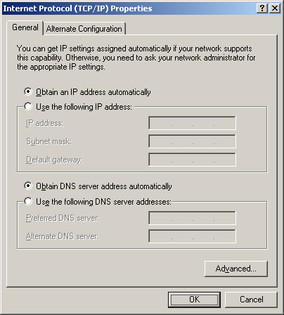 Compare the settings with the picture below; the automatic IP and DNS must be enabled. Close all the windows by selecting OK.