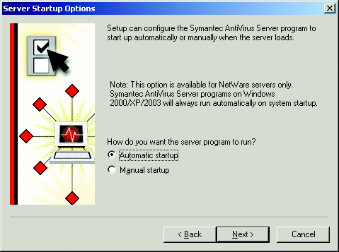8. Review the information in the Destination computers area, and then click Next (refer to Figure 15). The Select Symantec AntiVirus Server Group dialog box appears.
