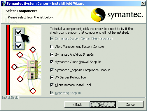 3. From the Symantec AntiVirus install page, click Install Symantec System Center (refer to Figure 2). The Symantec System Center InstallShield Wizard appears. Figure 3.