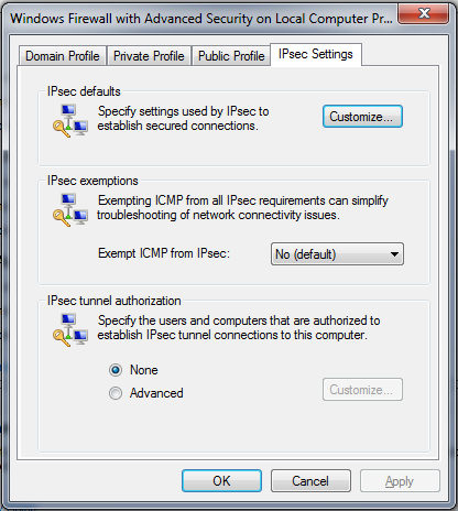 Part 5: Configuring Windows Global Firewall Rule On the Windows Firewall Advanced Screen, right click Windows Firewall and