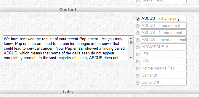 Three clicks! ASCUS initial We have reviewed the results of your recent Pap smear. As you may know, Pap smears are used to screen for changes in the cervix that could lead to cervical cancer.