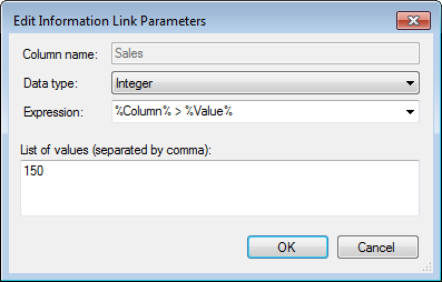 Information link parameters Edit... Lists the columns with parameters of the selected information link.
