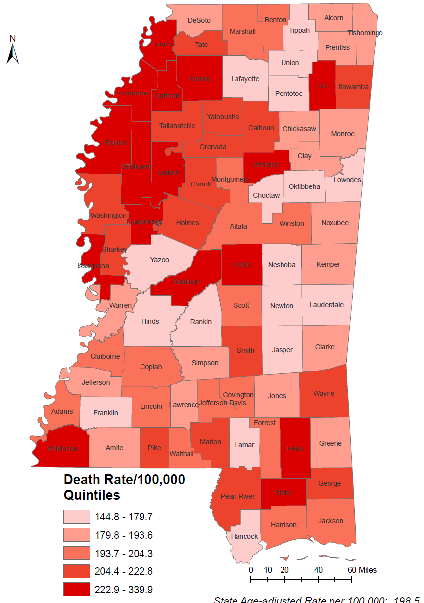 Death related to cancer (all sites) 2007-2011 DATA HIGHLIGHTS Figure 22. Age-adjusted death rates due to cancer by county, 2007-2011.