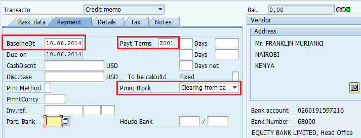 Credit Memo Without Purchase Order In the Payment tab: Payment terms: usually this should be Z001 to ensure recovery from next payment to vendor.