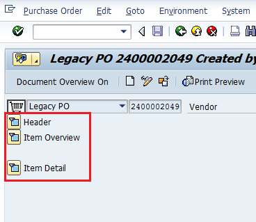 Review Purchase Order The Display Purchase Order screen has three main sections: Header Data tabs Item Overview
