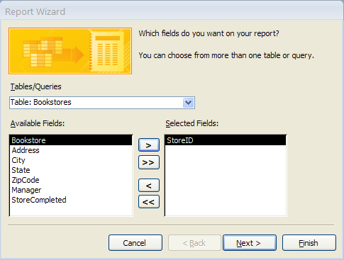 Creating a New Report 1. Open the database in Access 2007. 2. At the left side of the screen, click the drop-down arrow and choose Reports. 3.