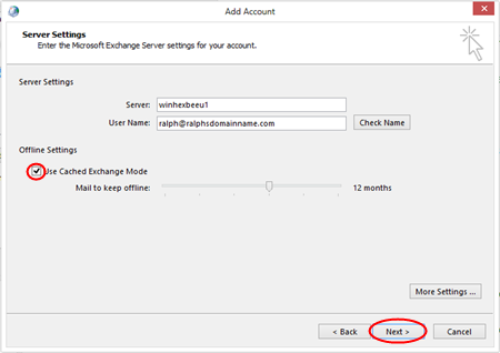 Step 8 Click OK and then click OK in the Microsoft Exchange Server window.
