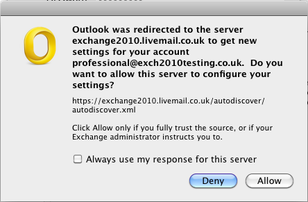 Outlook will now set up your new Exchange mailbox on your computer. This may take a couple of minutes to complete.