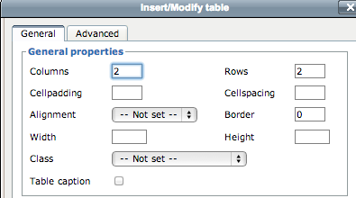 Creating a Table You can create a table to organize some of your content Click your cursor in the body area where you would like to insert the table Click on the INSERT TABLE button Enter the number