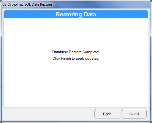 10. The database restore is now complete. Click Finish. 11. Now that the databases have been restored copy the following files and folders from the old server to the new server.