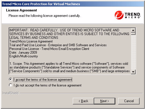 4. On the Welcome screen, click Next. FIGURE 2-2 License Agreement screen 5. On the License Agreement screen, read the license and select I accept the terms of the license agreement.