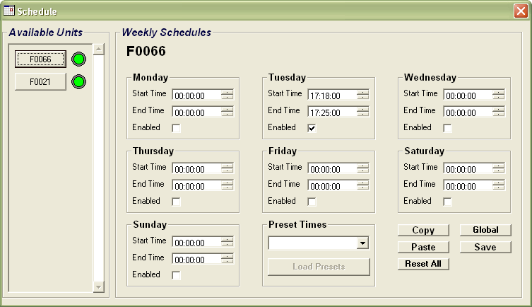 3.4 Schedules Screen The Schedules Screen allows the user to allocate schedules to individual units. Figure 3.4.1 A screenshot of the Schedule Screen.