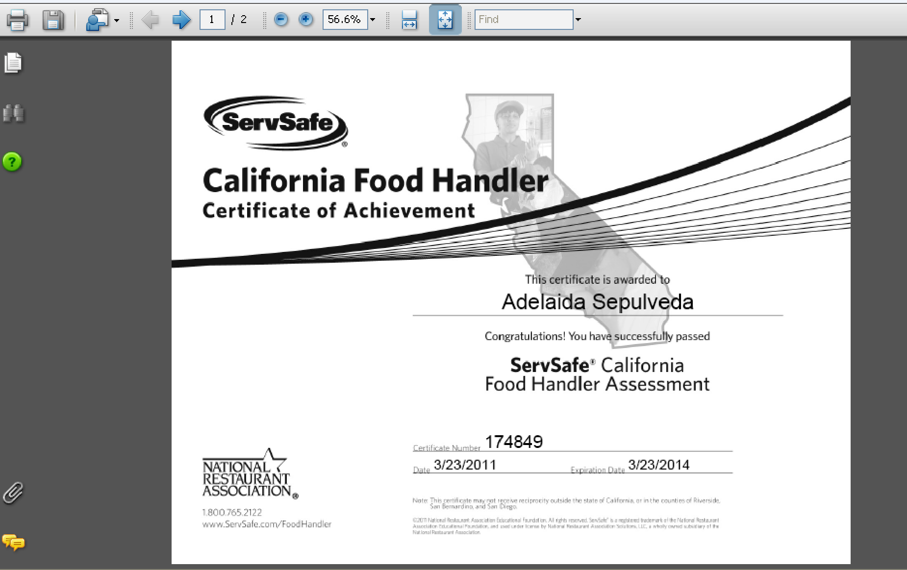 Servsafe California Food Handler View Scores And Print Certificate