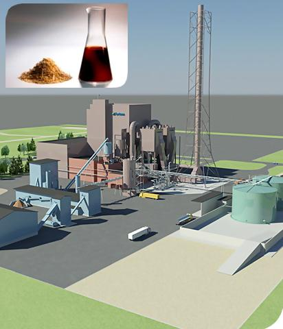 Fast pyrolysis based bio oil production plant Fortum Joensuu, Finland In fast pyrolysis wood is decomposed in oxygen-free atmosphere 225 000 solid m³/a forest chips are heated up, volatiles extracted
