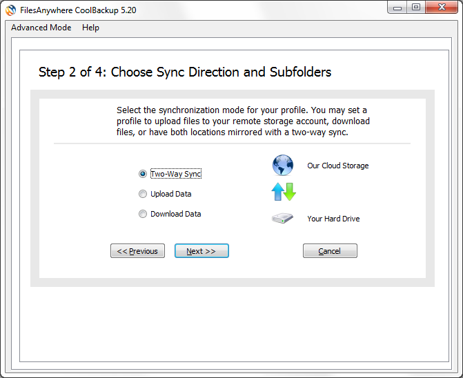 Choose the direction to synchronize files. For this example, we will choose Two-Way Sync to synchronize a copy of My Documents files with those on the FilesAnywhere server.