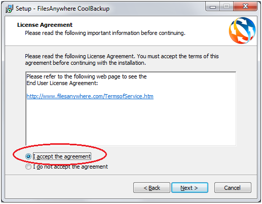 When the Setup Wizard page appears, click Next: Click I accept the agreement (shown circled below) then click Next: