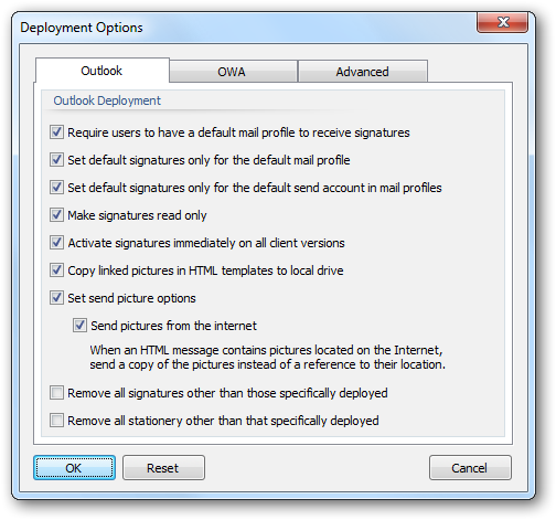 The Deployment Options dialog is used to configure system-wide settings used when deploying signatures to the users in your organization.