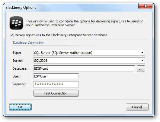 Important Only Blackberry Enterprise Server v5.x (Full and Express editions) is supported by Email Signature Manager.