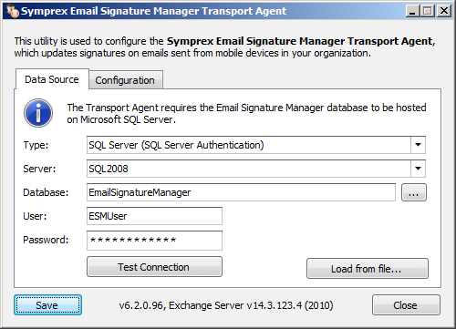 Deployment 3 The Transport Agent only supports Microsoft SQL Server.