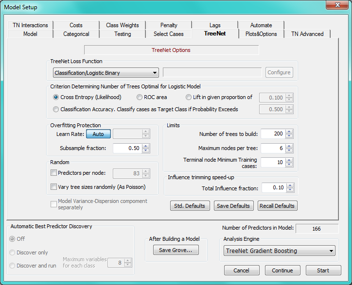Parameter Variation - Automates Each TreeNet control parameter can be automatically varied over its values A