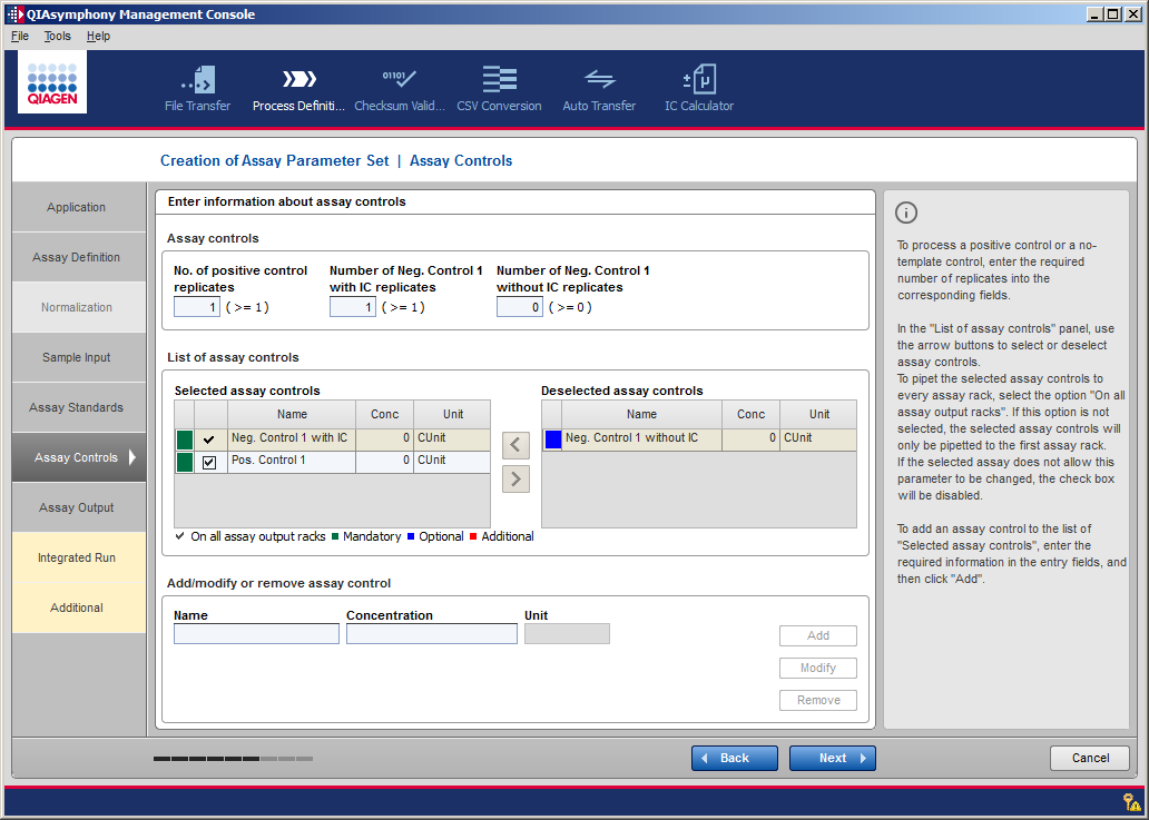 Creating and Modifying Process Files Specify the On all assay racks option by using the checking box next to the standard name.