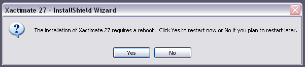Xactimate can validate the existence of the correct versions of the programs and then install any required programs that are needed. Step 4 Click Yes to restart your computer if required.