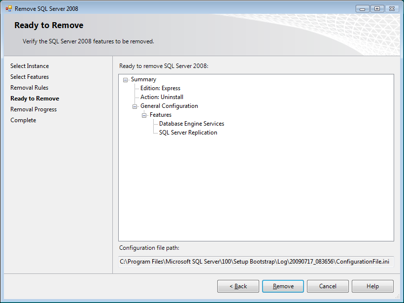 12. Review the Removal Rules screen and ensure the operation has no Failed points (Click Show details >> to review any