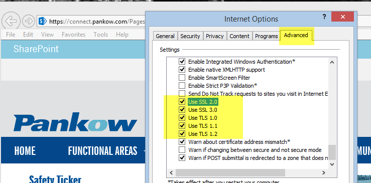 Internet Options > Advanced Tab > Settings (Scroll to Bottom of List) o