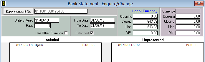 Create the Bank Statement 1. PayBiz main menu > Banking > Bank Statements 2. Click the Add button. Click Add (if you have no bank statements the Add screen will automatically appear). 3.