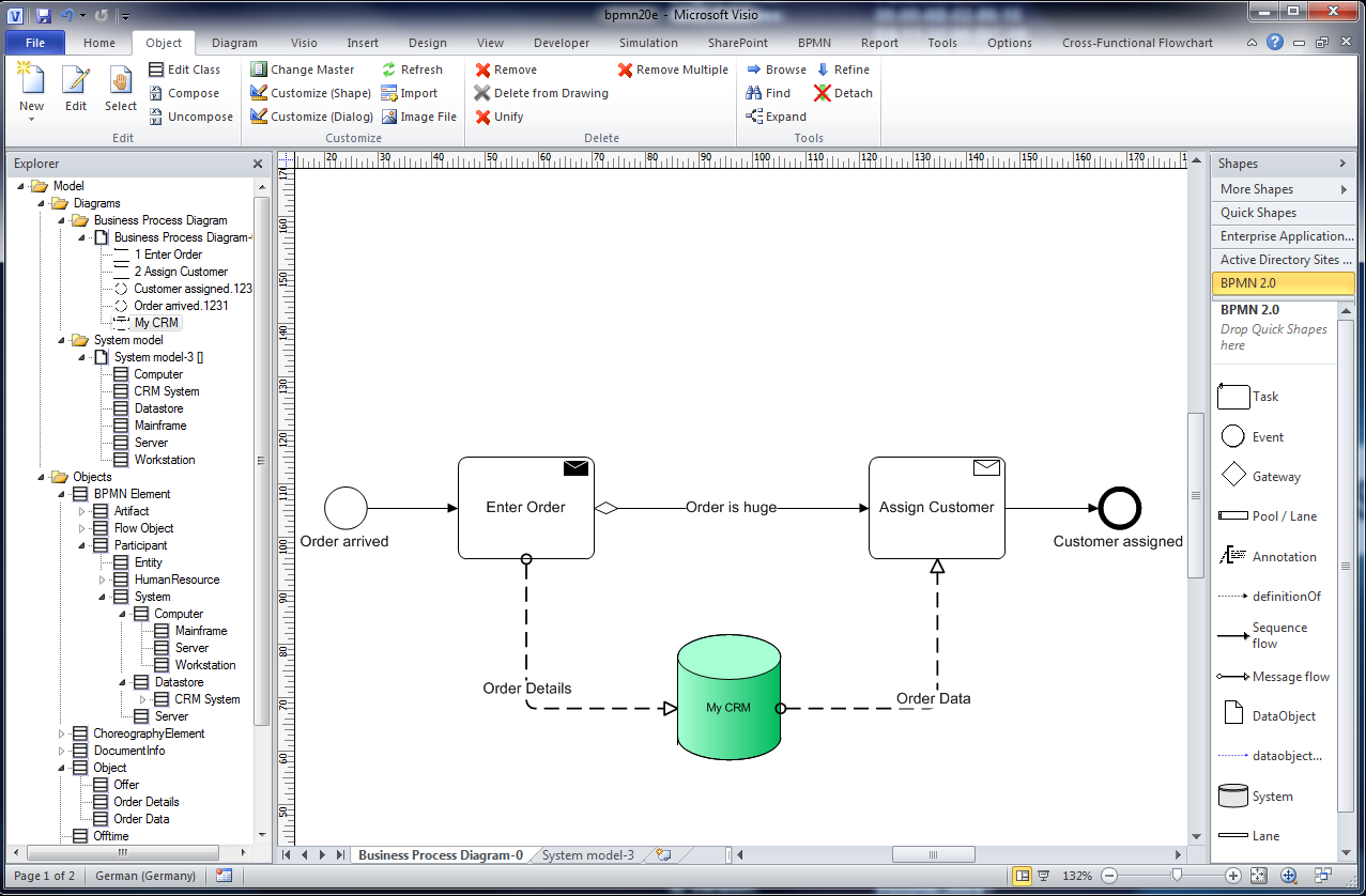 Semtalk Bpmn Tutorial April 43 Edition For Shapes Process Flow Diagram Figure 30 A System With Visio Shape In Connect It To Assign