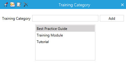 29 Training Category By default, the available categories will be: Best Practice Guide Training Module Tutorial Note that Users may also add more Training Categories to the list using the Add button.