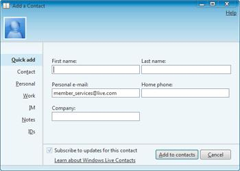 ADD AND MANAGE CONTACTS IN WINDOWS LIVE MAIL Add an email Address as contact in Windows Live Mail The easiest way to create a new contact in Windows Live Mail is to use an email you received from the